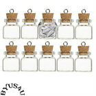 TINY BOTTLE GLASS VIAL CORK AMULET CHARM WICCA POTION MEMORY FLOATING CHARM 10pk