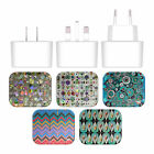 OFFICIAL ANGELO CERANTOLA PATTERNS WHITE UK CHARGER & USB CABLE FOR APPLE iPAD