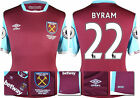 16 / 17 - UMBRO WEST HAM UNITED HOME SHIRT SS + PATCHES  BYRAM 22 = KIDS SIZE