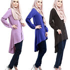 Muslim Women Top Shirt Dresses O-Neck Long Sleeve Islamic Clothing Chiffon Tops