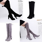 Hot Womens Over The Knee Boots Suede Lining Warm Shoes High Heel Block Lace