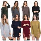 Women Torn Ripped Ladies Oversized Scoop Neck Wooly Jumper Dress Long Blouse Top
