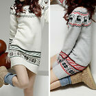 Fashion Women Deer Printing Long Sleeve Slim Jumper Sweater Mini Dress 2 Colors