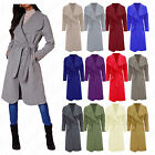 Womens Italian Long Sleeve Waterfall Oversized Belted Trench Coat Blazer Jacket