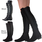 LADIES WOMENS KNEE THIGH HIGH LOW FLAT HEEL OVER THE KNEE STRETCH BOOTS SIZE