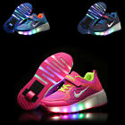 Kids Girls Boys LED Light Wheels Retractable Roller Skate Shoes Youth Sneakers U