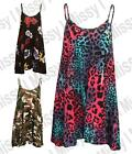 Womens Sleeveless Animal Comic Print Swing Dress Flared Strappy Long Top 8-22