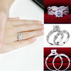 Gemstone CZ Crystal White Gold Filled Engagement Women Ring Set Size 6-9 Ring