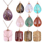 1pc Charming Crystal Gemstone Copper Wire Wrapped Tree of Life Pendulum Pendant