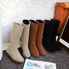 Women Lady Simple and comfortable flat Boots Mid-Calf Boot Suede Shoes Long Boot