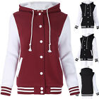 Womens Ladies Varsity Baseball Hoody Hooded Hoodie long sleeve coat jacket top