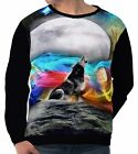 Wolf In Ribbons Of Color Men's Long Sleeve Sweatshirts