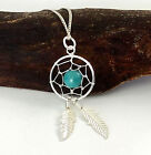 925 Sterling Silver and Turquoise Dreamcatcher Pendant Necklace - Gift Boxed