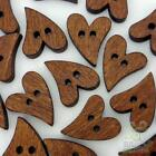 20/100pcs Brown Wood Buttons Lot Heart 20x16MM Craft/kids Sewing Cards Embellish