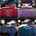 New Quilt/Doona/Duvet Cover 100% Cotton Set Craft Embroidery Queen/King Bed Size