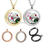 25/30MM Steel Matte Round Living Floating Charm Memory Locket Pendant Necklace