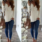 Hot Womens Ladies Irregular T-shirt Tops V Neck Buttons Slim Fit Blouse Shirt K