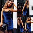 Fad Women Stretch Bodycon Party Mini Dress Velvet Blue Lace Patchwork Clubwear K