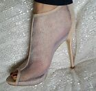Nude Sparkly Mesh Slim Heel Ankle Boots Size UK  2 3 4 5 6 7 8 / EU 35-41