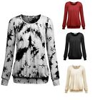 Women's Boat Neck Long Sleeve Jersey Stretch Pleated Front Blouse Shirt Top