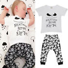 2PC Newborn Baby Boy Letter T-shirt+Pant Short Sleeve Graphic Print Clothes Set