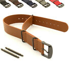 Genuine Leather Military Watch Strap Band NATO G10 MoD PVD Hardware, Spring Bars