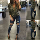 Stylish Camouflage V-neck Long Sleeve Blouse Women Girls Casual T-Shirt Top COOL