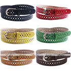 Fashion Hollow PU Leather Alloy Buckle Women Cute Candy Color Thin Skinny Belt