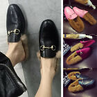 Fur Horse bit Black Leather Women's PU Leather Loafers Shoes Flat Slippers Sz