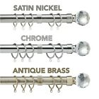Extendable Metal Crystal Curtain Pole. Includes Rings, Finials & Fittings. 28mm