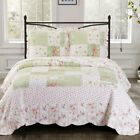 Upland Quilted Floral Patchwork Printed 3 Piece Coverlet Set Reversible Quilts image