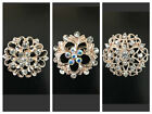 Modest Wear Fashion Hijab Pins Bridal Brooches Gold White Rhinestones