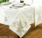 FESTIVE WHITE SILVER TABLE CLOTHS EMBROIDERED FIR TREE BELLS SNOW CHRISTMAS XMAS