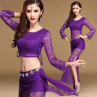 Womens Lace Oriental Belly Dance Costumes Set Dancewear Cropped Top Pants Skirts
