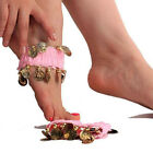 Belly Dance Foot Chain Gold Coin Dancing Chiffon Stretchy Anklet Accessories 2PC