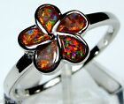Red Fire Opal Inlay 925 Sterling Silver Plumeria Flower Ring size 6.5