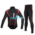 New Cycling Bicycle Bike Outdoor Sport Fleece Long Sleeves Jersey+4D Pants Sets