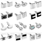 Vintage Silver Stainless Steel Men's Shirt Classic Enamel Cufflinks Cuff Links