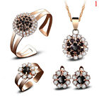 5pcs Women Lady Wedding Gold Crystal Pendant Necklace Earring Ring Jewelry Set