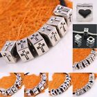 Wholesale Tibetan Siver Carved Heart Cross V L European Charm Bracelet Cube Bead