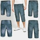 NEW MENS SHORTS DENIM 3/4 LENGTH CASUAL SUMMER CARGO COMBAT JEANS PANTS W30-W38