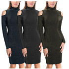 Women's Cold Shoulder Long Sleeve Turtleneck Stretchy Bodycon Fitted Midi Dress