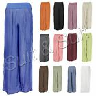 New Womens Italian Lagenlook Quirky Layer Stretchy Harem Pants Silk Trousers