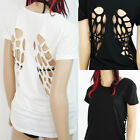 Womens Black or White Angel Wing Cutouts T Shirt Short Sleeve Top Blouse Sm-2xl