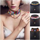 Women Fashion Woven Cloth Leather Rope Charm Choker Chunky Statement Necklace