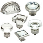 Cosmas Clear-Satin Nickel Glass Cabinet Knobs, Cup Pulls & Hinges