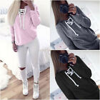 New Womens Solid Plain Hoodie One Colour Top Hooded Ladies Sweatshirt Size S-XL