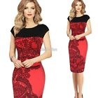 New Summer Women Vintage Rockabilly Pinup Fitted Party Pencil Shift Sheath Dress