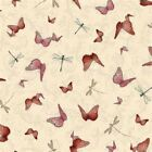 SANTORO - LA VIE EN ROSE - MIRABELLE - BUTTERFLIES & DRAGONFLIES ON CREAM cotton