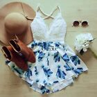 Summer Women Lace Flower Jumpsuit Backless Playsuit Rompers Shorts Pants TXCL